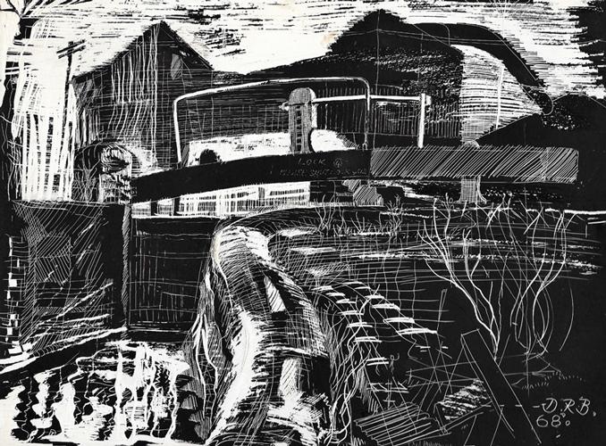 Birmingham & Fazeley CanalLockgate. 1968. Scraperboard. 21x29cm