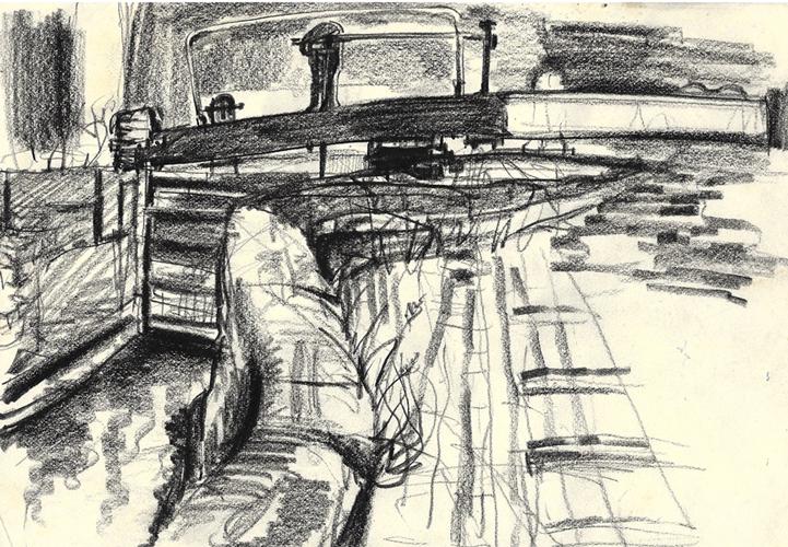 Birmingham & Fazeley Canal Lockgate. 1969. Conte Crayon. 21x29cm