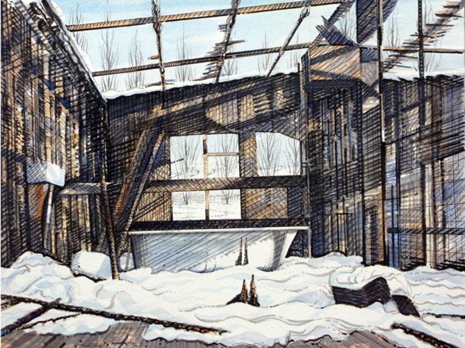 Burnt Out Prefab. 2018 version. Watercolour. 29x40cm.