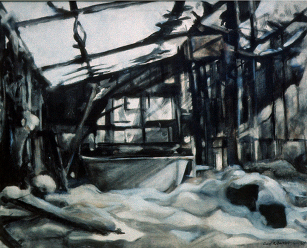 Burnt Out Prefab in the Snow. 1968. Oil on Canvas. 60x80cm.