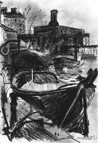 Gas Street Basin. 1969. Conte Crayon. 21 x 29 cm.