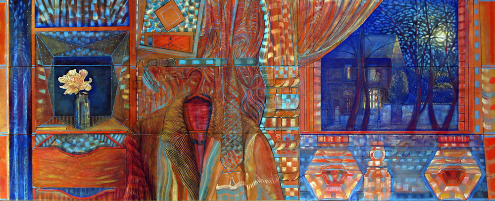 A Personal Lockdown in Orange & Blue (Reaching Out). Oil on canvas. 165x65cm