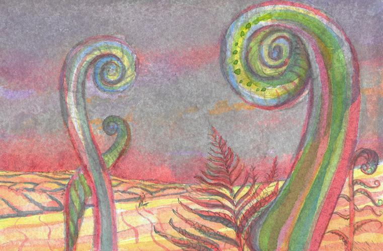 Celebrating Nature 4 (Lady Fern). Watercolour. 15x10cm