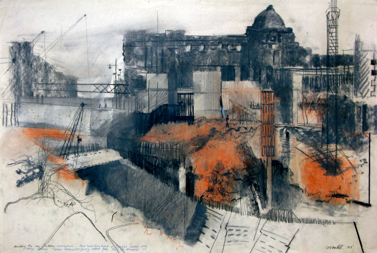 Constructing Inner Ring Rd and New Library, Birmingham. 1969. Pastel. 40x60cm.