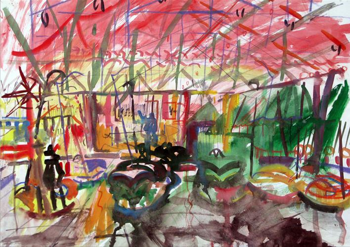 Fairground 'Dodgems Ride'. 1968. Watercolour. 29 x 42 cm.
