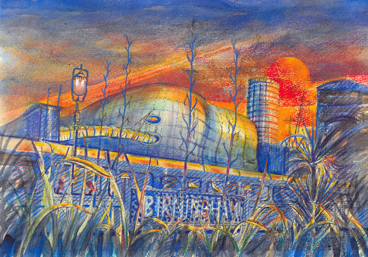 Greening Cities 1 - Selfridges from Moor Station at Dawn. Pastel. 21x29cm