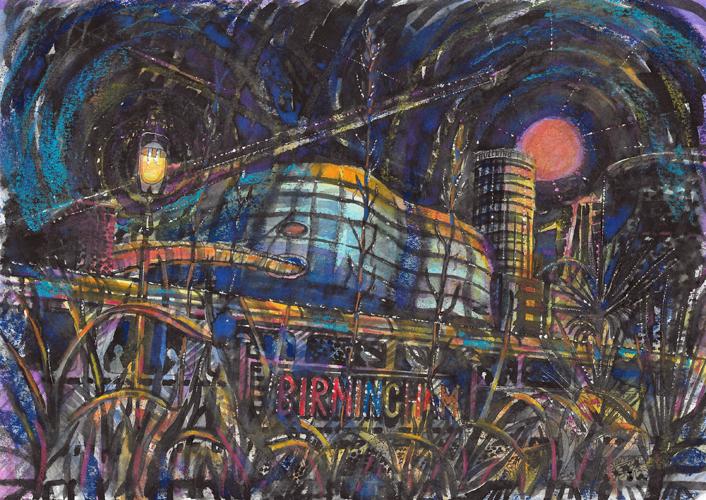 Greening Cities 2 - Selfridges from Moor Station at Night. Pastel. 21x29cm