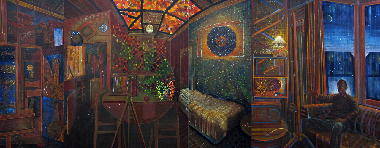 Lockdown Tableau. 2020/21. Oil on Canvas· six panel composite. Overall size: 80x210cm.