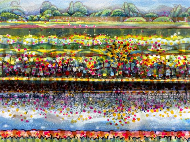 Renaissance Garden, Pastel. 21x29cm