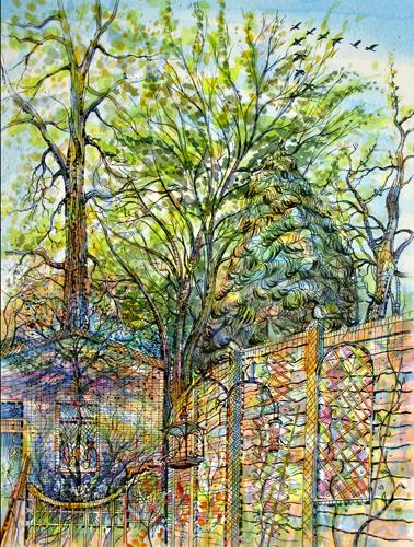 Rewilding Garden 2, Watercolour. 30x40cm