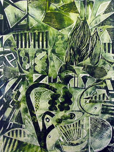Urban Rewild. Collagraph print. 21x29cm